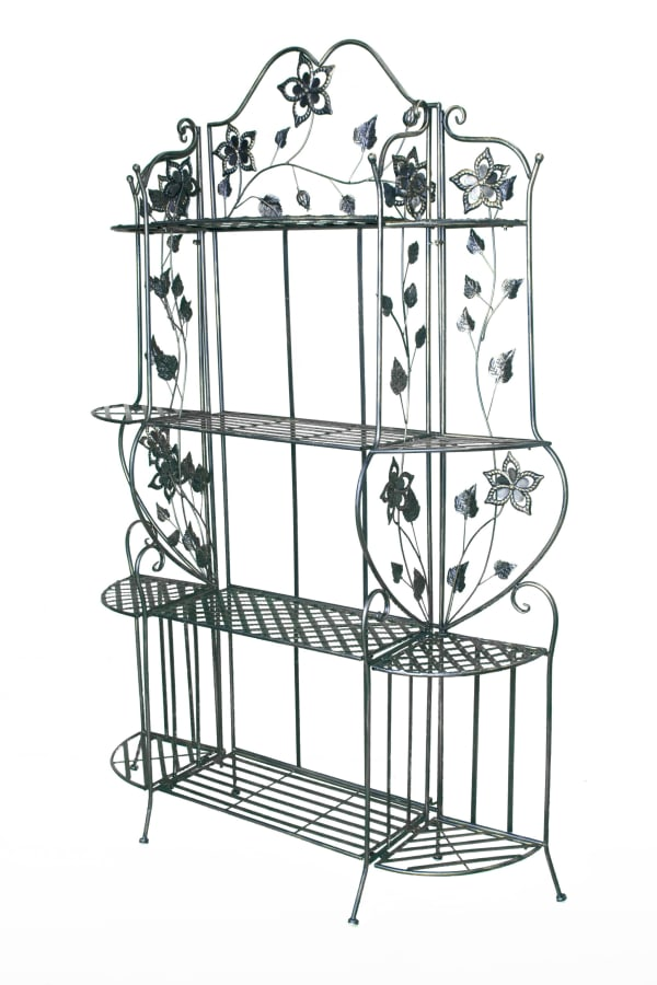 Blackened Brass Full Size Bakers Rack with Shelves
