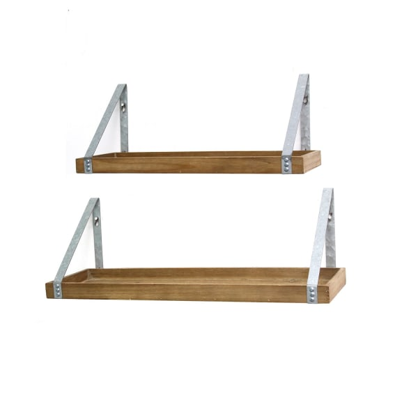 Farmhouse Metal and Wood Framed Shelves