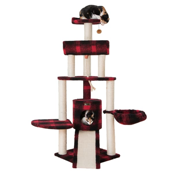 Red Spacious Thick Fleece Cat Tower with Basket Lounge and Ramp