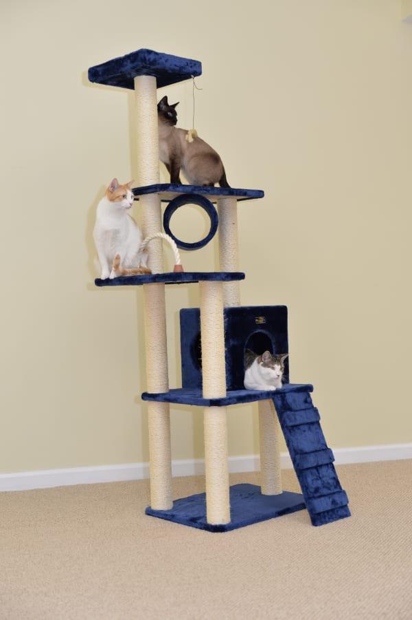 Navy Cat Climbing Tower Cat Scratching Furniture