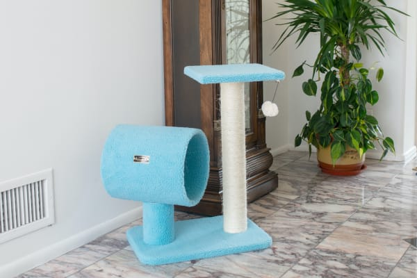 Sky Blue Cat Tree with Scratcher and Tunnel for privacy and hiding
