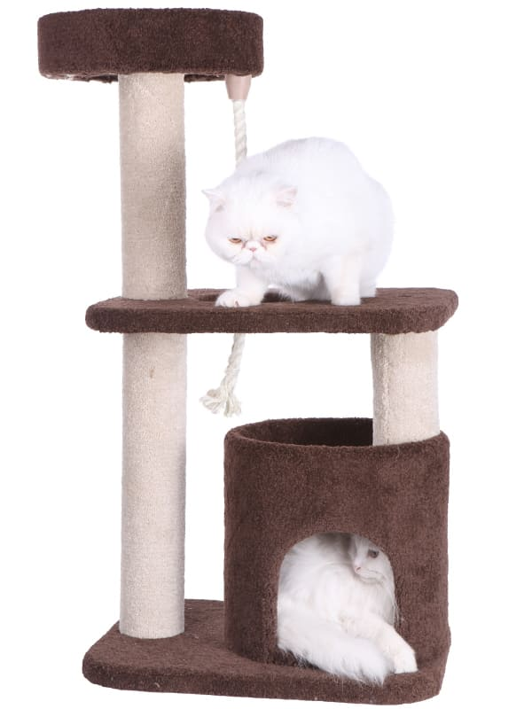 Brown 3-Tier Carpeted Cat Tree Condo Kitten Activity Tree
