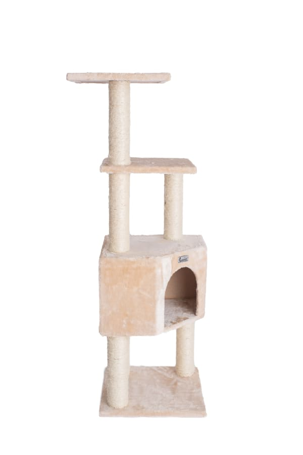 Beige Cat Tree with Perch and Playhouse