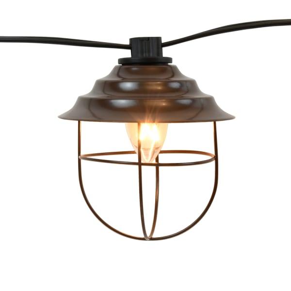 10 Bronze Metal Shades Electric Café String Lights