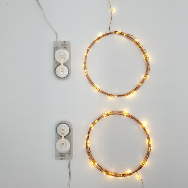 Battery Operated Copper LED Set of 2 Fairy String Lights