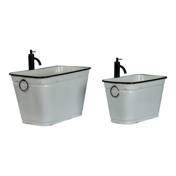 Distressed Finish Metal Faucet Planters Set