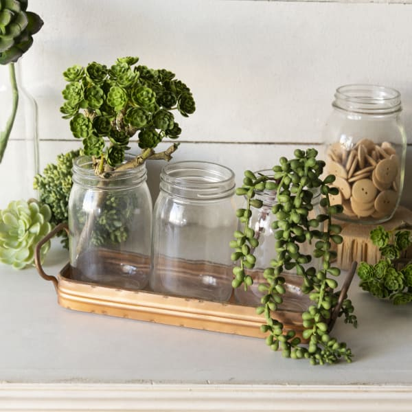 Antique Finish Metal Tray with Glass Jars