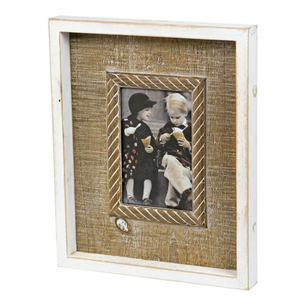 Antique Finish Embossed Center Trim Wood Frame