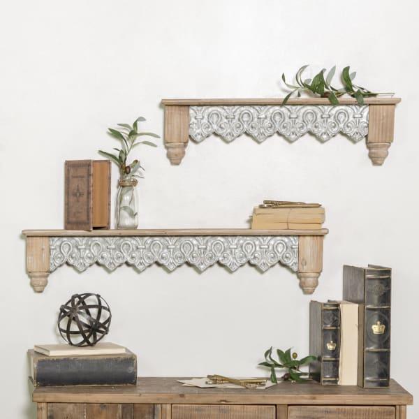 Antique Finish Wooden Wall Shelves