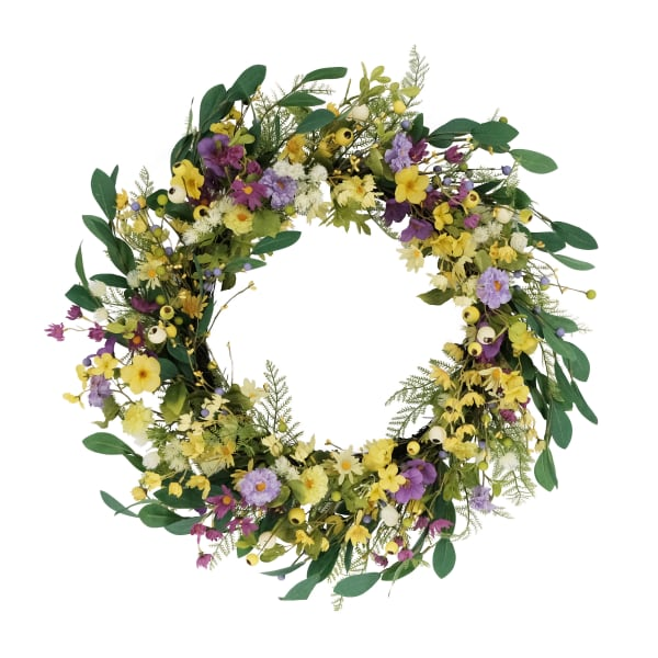 """Puleo 30"""" International Artificial Dogwood and Daisy and  Poppy Floral Spring Wreath"""