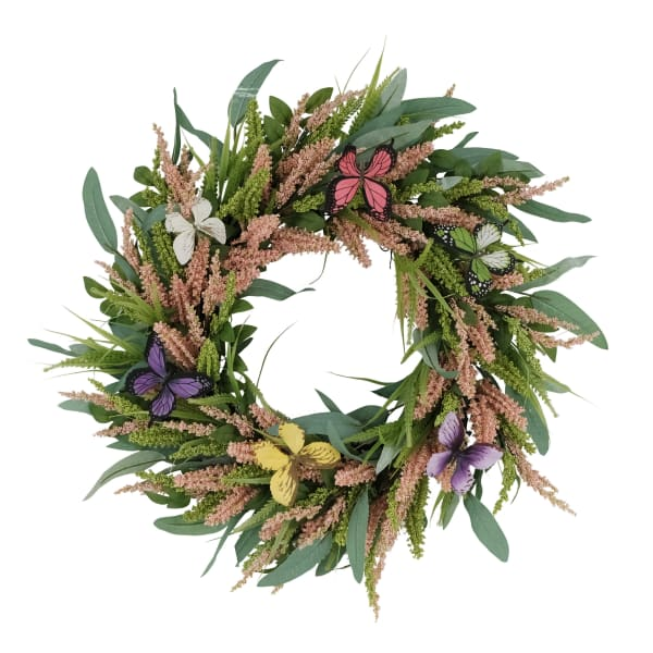 """Puleo 24"""" International Artificial Salix Leaf With Butterfly Floral Spring Wreath"""