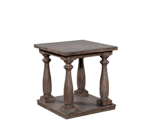 Weathered Brown Turned Legs and Open Shelf Wooden End Table