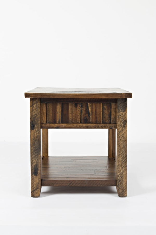 Oak Brown Drawer and Bottom Shelf Wooden End Table