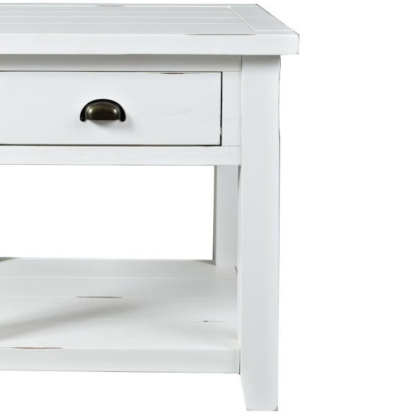 Weathered White With Open Shelf Wooden End Table