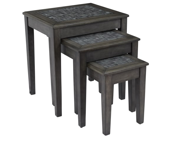 Dark Gray Finish With Stone Marble Top Set of 3 Nesting Tables