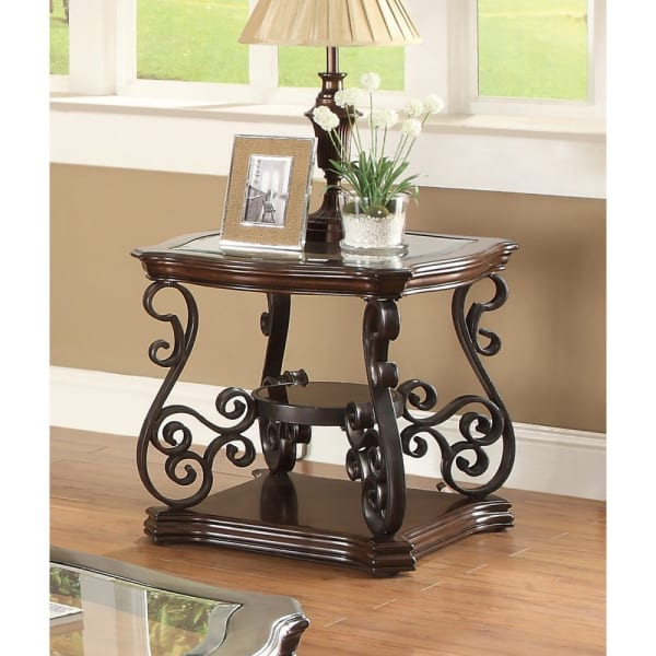 Solid Brown Traditional With Glass Inset, Metal Scrolls & 2 Shelves End Table