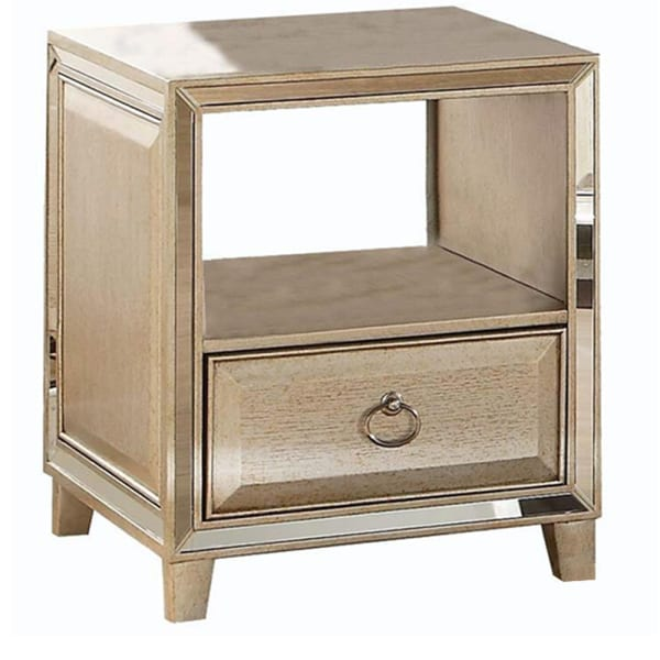 Gold Transitional Wood and Mirror Rectangular End Table