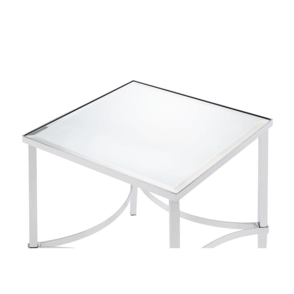 Silver Modern Metal Frame with Mirrored Top Square End Table