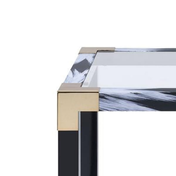 Black Metal Glass Top Rectangular End Table
