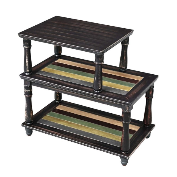 Brown 3-Tiered Open Shelves Wooden Side Table