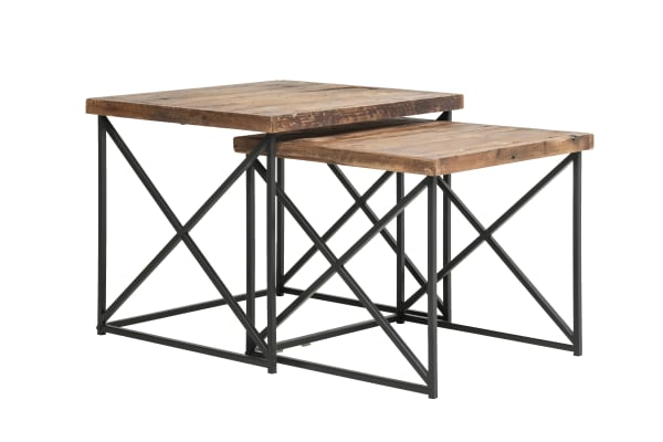Brown and Black Industrial Wood  with Metal Base Set of 2 Nesting Tables