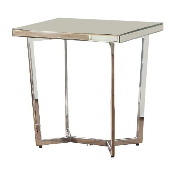 Mirror Top With Metal Base In Chrome Finish End Table