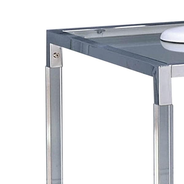 Silver and Clear Glass Top Open Bottom Shelf Metal End Table