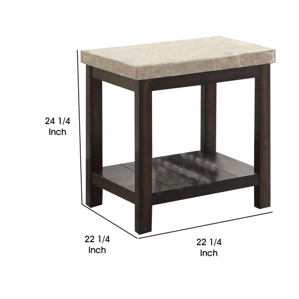 Brown Transitional Genuine Marble Top End Table