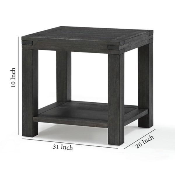 Dark Gray Block Legs and Open Shelf Wooden End Table
