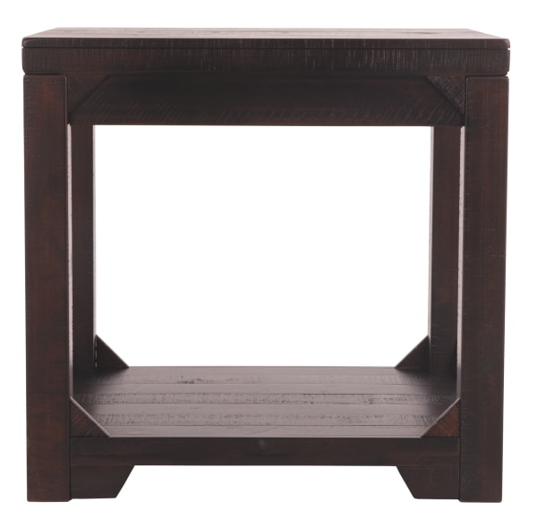 Brown Rough Sawn Textured with One Shelf Wooden End Table