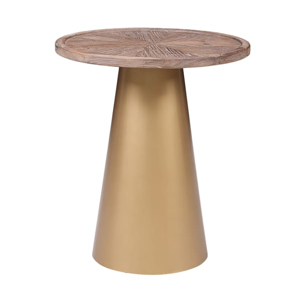 Brown and Gold Metal Conical Base Wooden Large Round Top Corner Table
