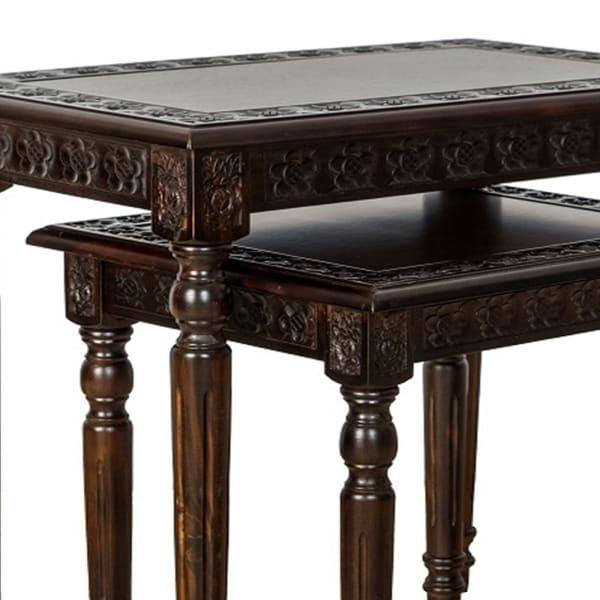 Brown Elegantly Engraved Wooden Frame Set of 2 Nesting Table