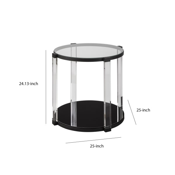 Black and Clear Open Shelf Tempered Glass Top Round End Table