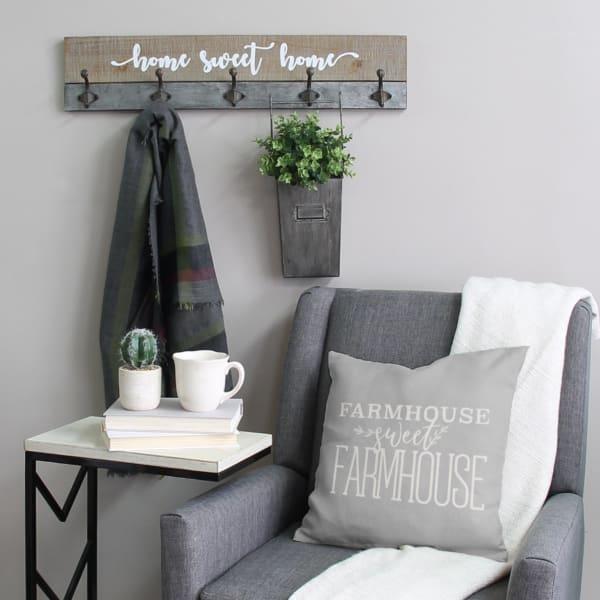 Home Sweet Home Distressed Wood Wall Hanging Coat Rack