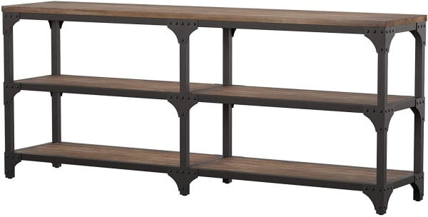Distressed Oak Finish and Antique Silver Console Table