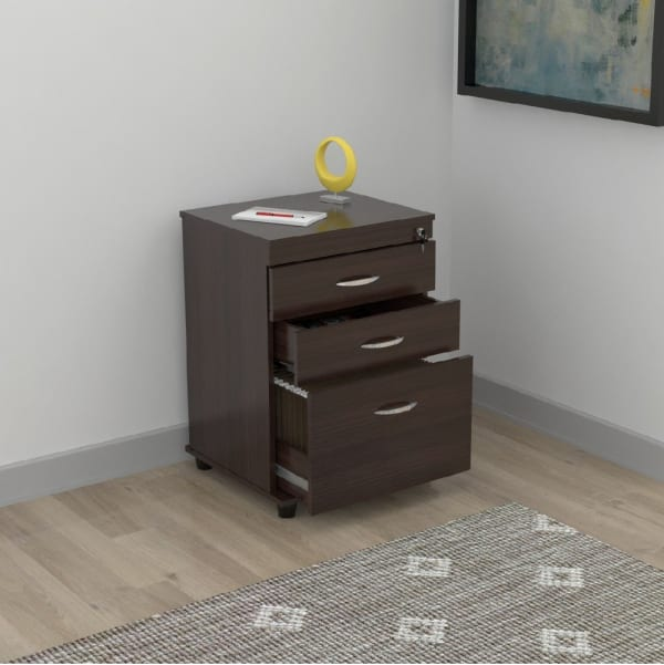 Espresso Melamine Wood 3 Drawer File Cabinet