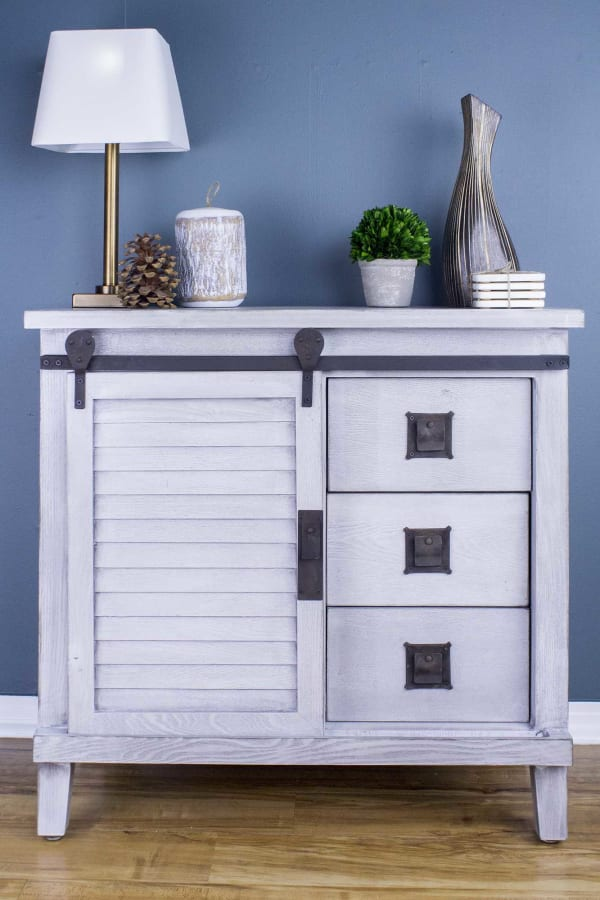 Distressed Light Grey Barn Door 3-Drawers Accent Cabinet