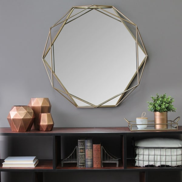 Gold Metal Octagon Framed Wall Mirror