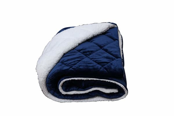 Navy Blue And Black Fleece Luxury Cozy Quilted 60