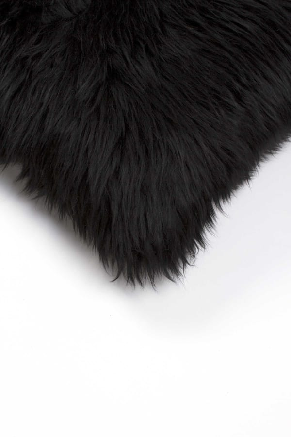 Contemporary New Zealand Sheepskin Square Black Accent Pillow