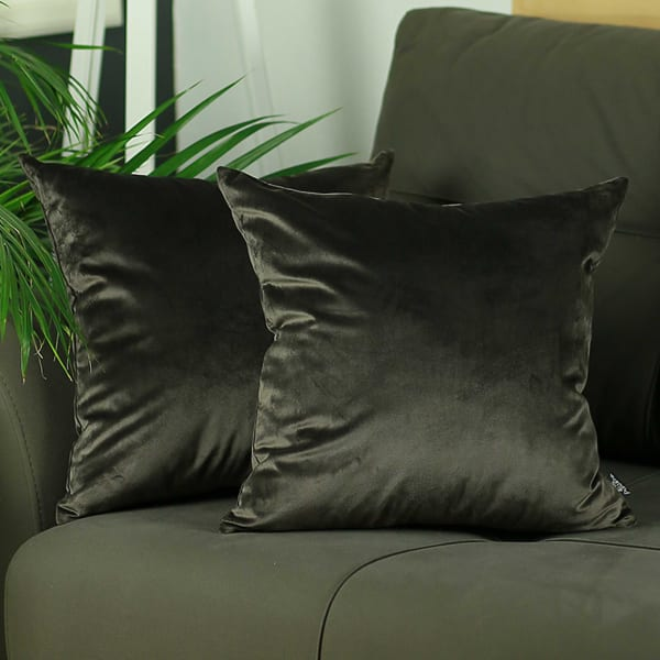 Carob Brown Velvet Set of 2 Decorative Throw Pillow Covers