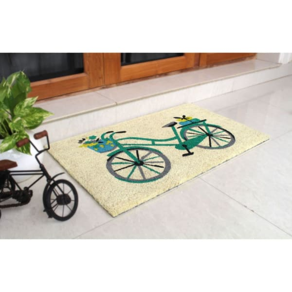 Blue Machine Tufted Floral Basket Bike Coir Doormat, 18