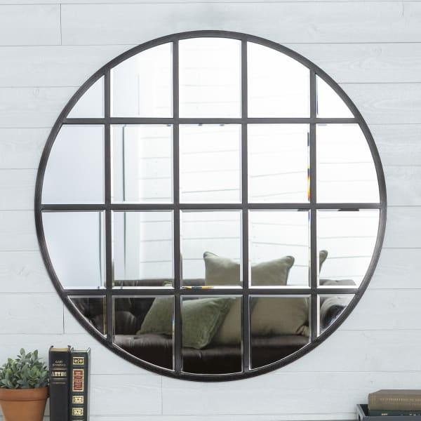 Modern Farmhouse Black Metal Window Pane Frame Round Wall Mirror