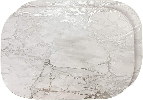 Marble Silver Oval Cork Set of 2 Placemats