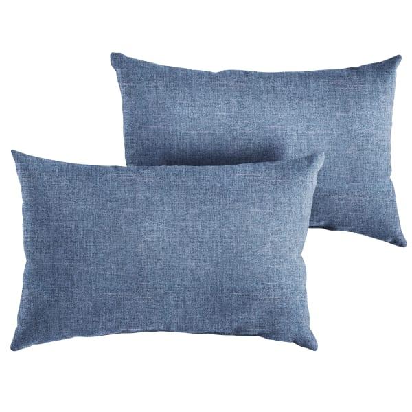 Knife Edge Blue Set of 2 Lumbar Pillows