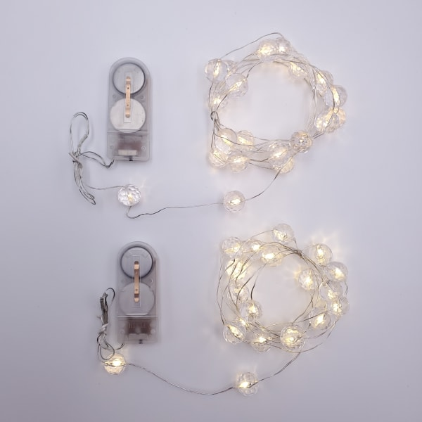 Crystal Balls Battery Operated  Set of 2 Outdoor Mini String Lights