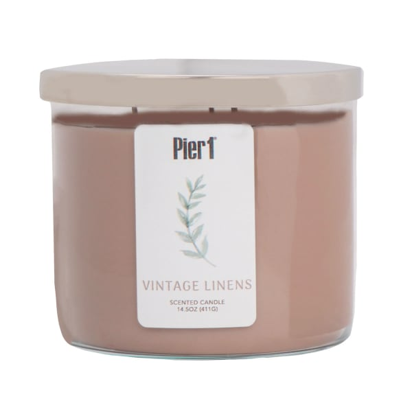 Pier 1 Vintage Linens Filled 3-Wick Candle