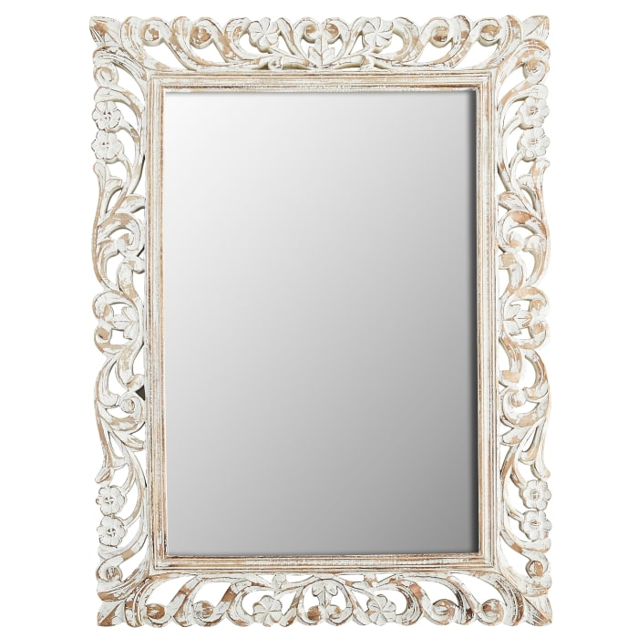 White Floral Carved Wood Frame 35x47 Mirror