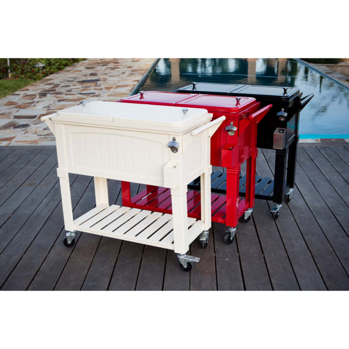 Red Patio Cooler Cart with Shelf