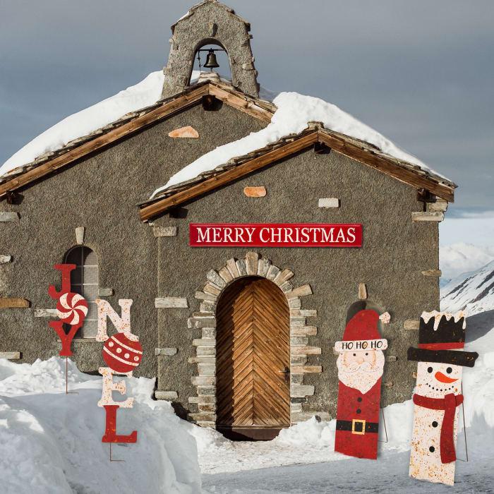 Merry Christmas Red & White Metal Wall Decor